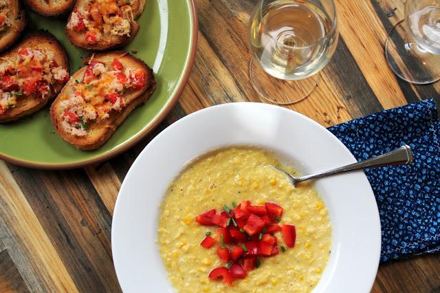 Corn Chowder with Crab & Red Pepper Crostini