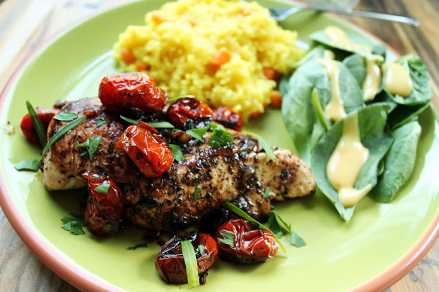 Herb Roasted Tomatoes over Chicken