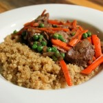 Basic Venison Stir fry with onions, carrots and peas