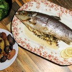 Whole Roasted Brown Trout with lemon and Herbs