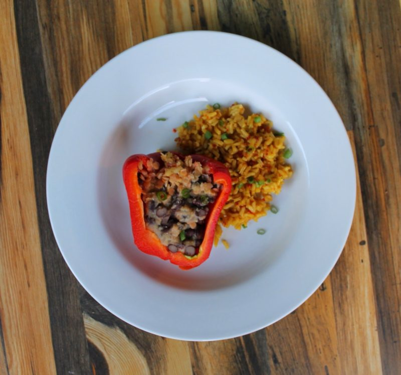 Red Lentil Stuffed Peppers