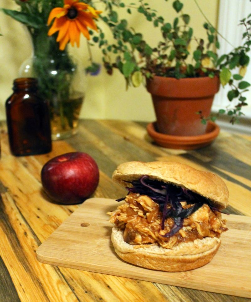 Crock Pot Apple Barbeque Pulled Chicken Sandwiches
