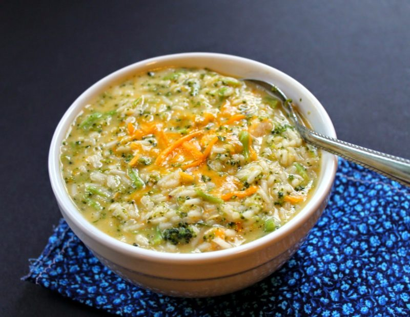 Broccoli Cheddar Soup w/ Rice & Chicken