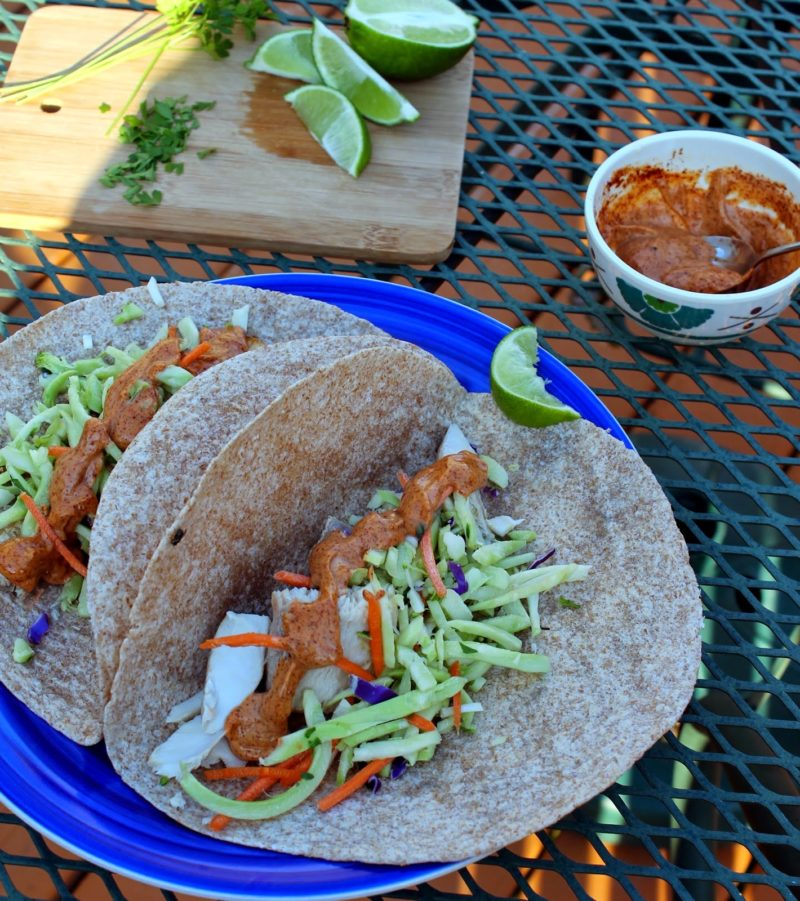 Mahi Mahi Fish Tacos with Easy Chipotle Mayo