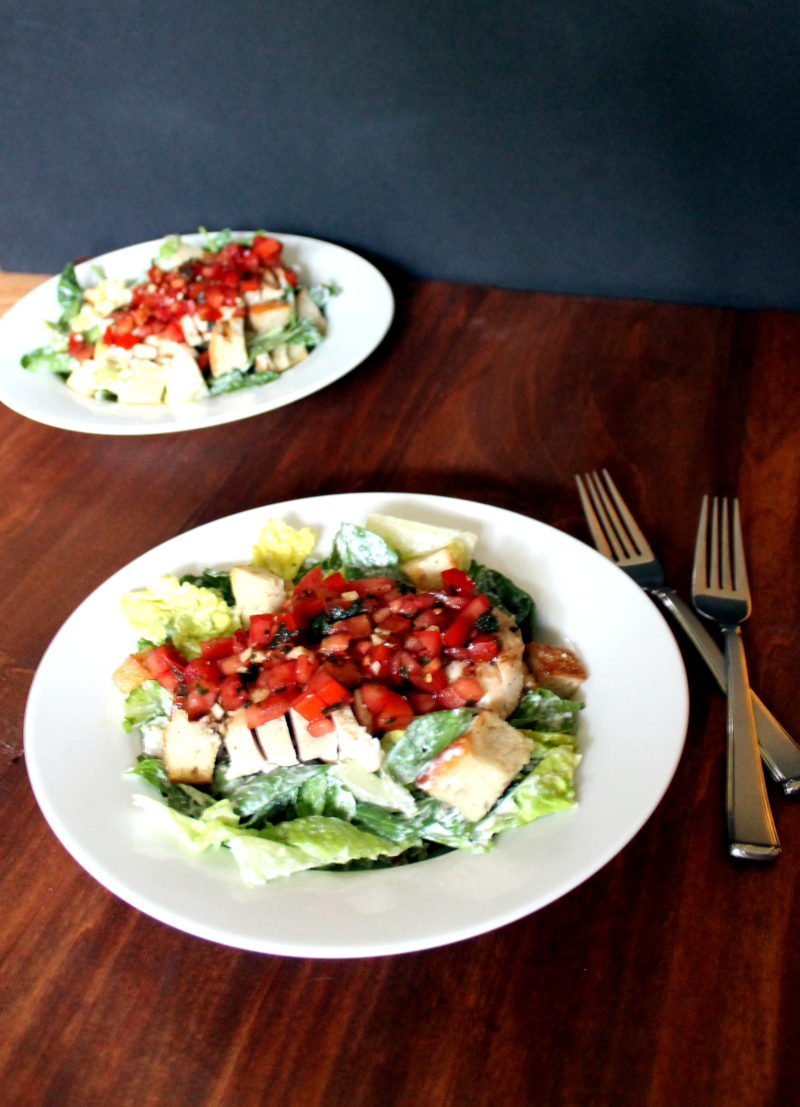 Bruschetta Chicken Salad with Parmesan Peppercorn Dressing