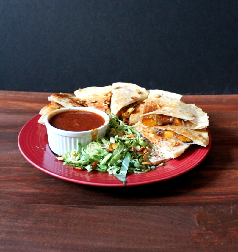 Maple Chipotle Squash, Onion & Bacon Quesadillas