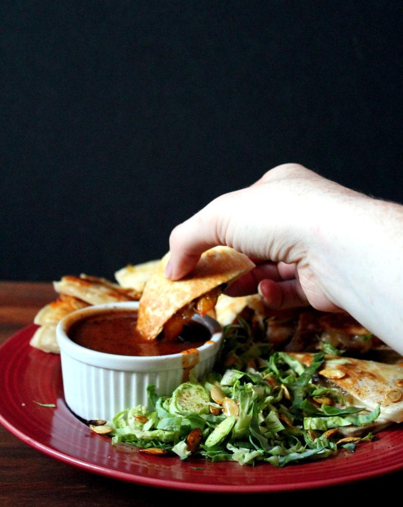 Maple Chipotle Squash, Onion & Bacon Quesadillas