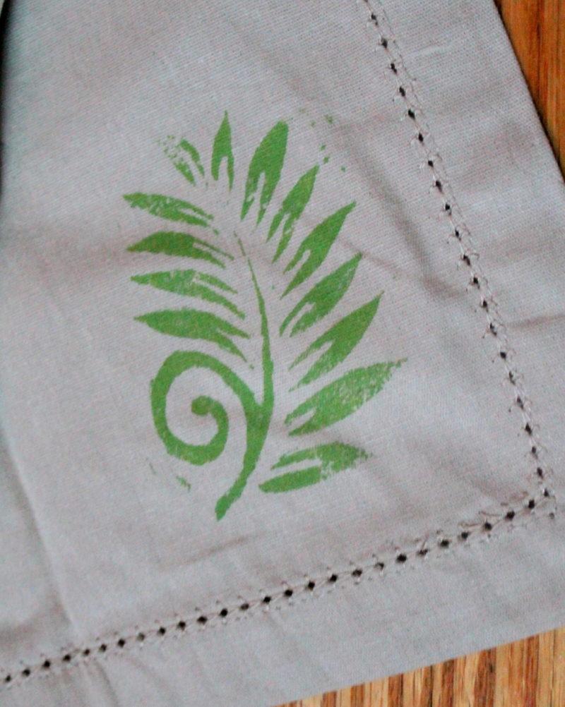 Hand Stamped Linen Napkins
