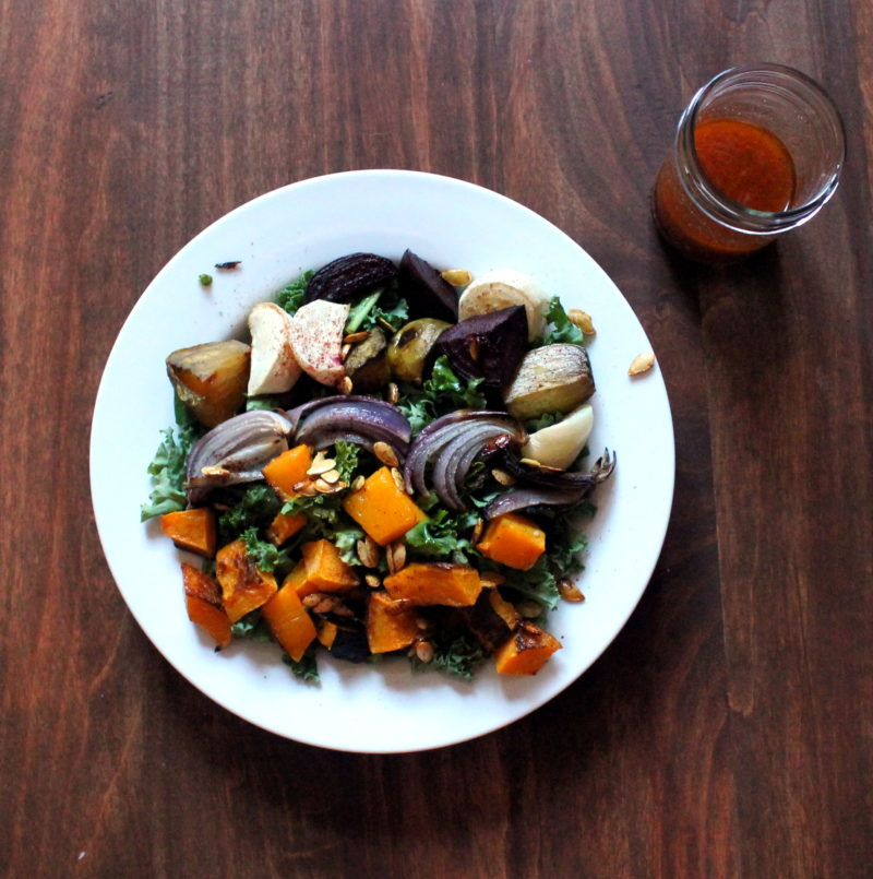 Maple Chipotle Winter Roast Veggie Salad