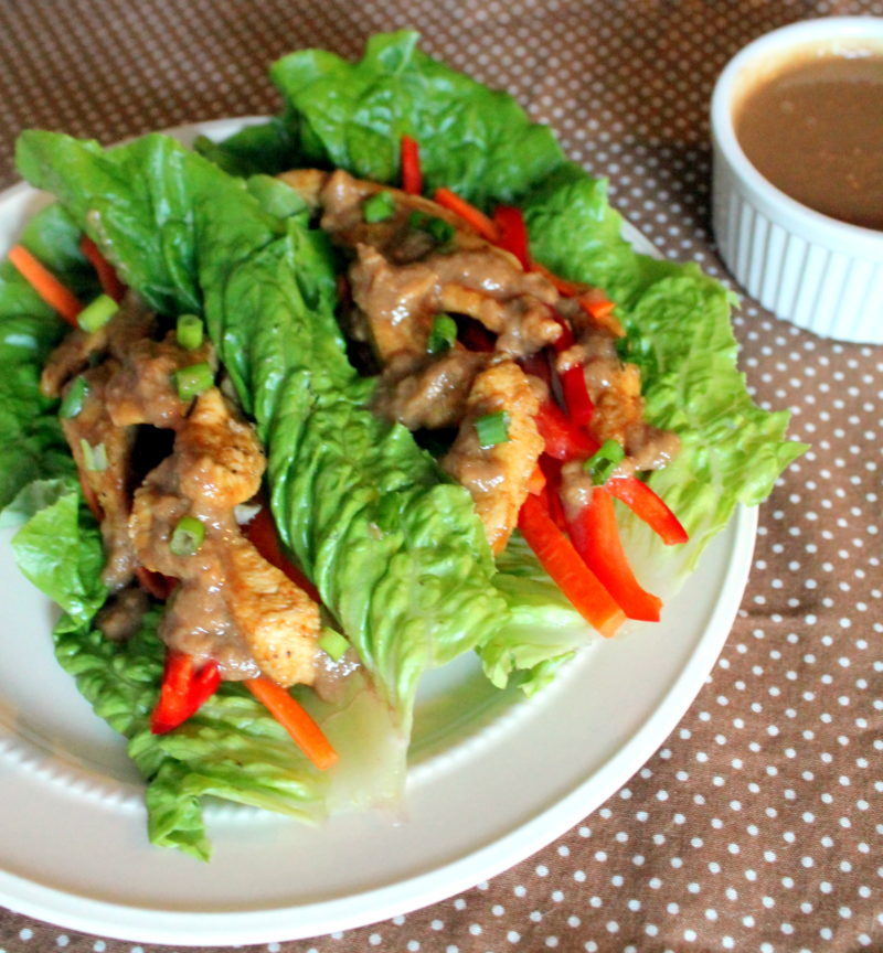 Satay Style Chicken Lettuce Wraps with peanut suace