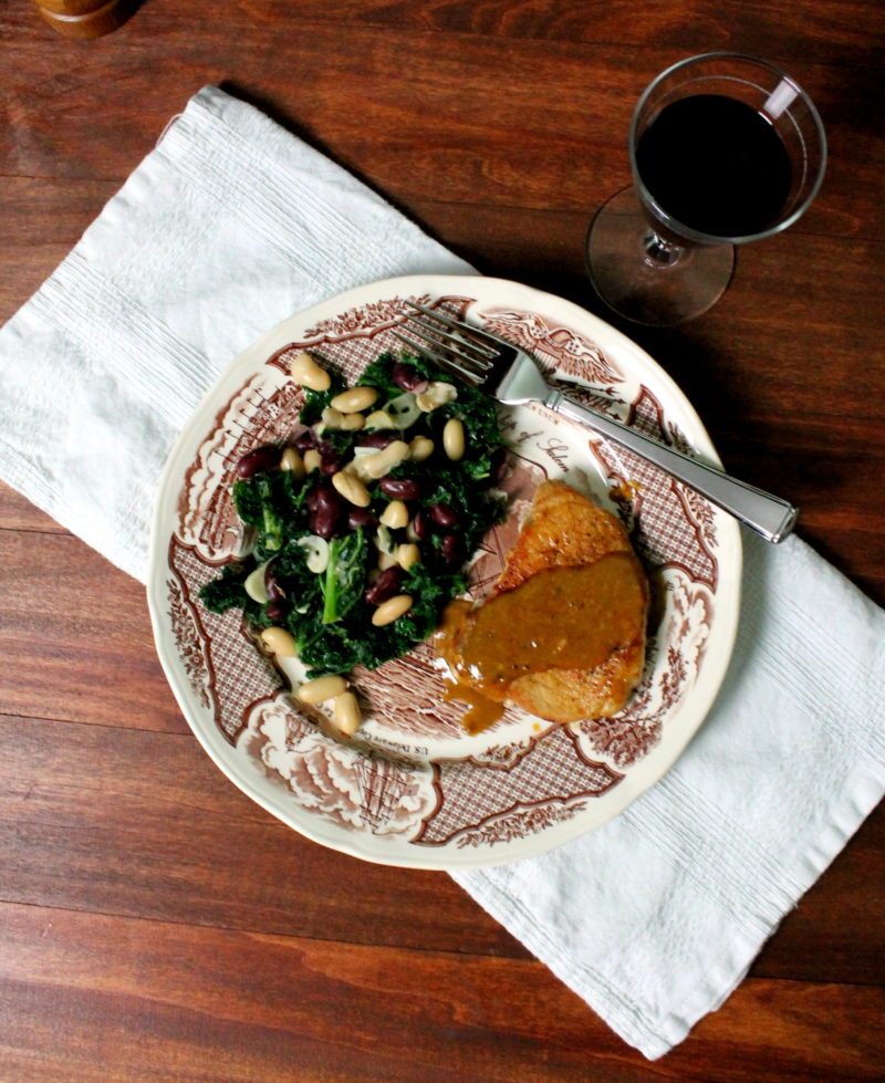 Mustard Pork Chops with Beans & Greens