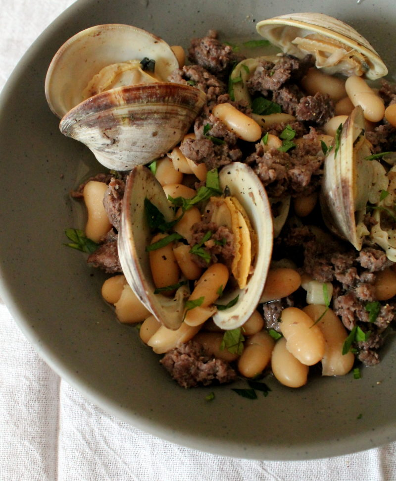 Clams with Sausage & Cannellini