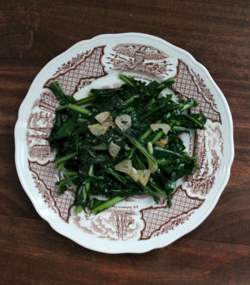 Dandelion Greens with Double Garlic