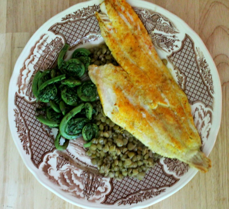 Turmeric Spiced Haddock with Lentils & Fiddleheads