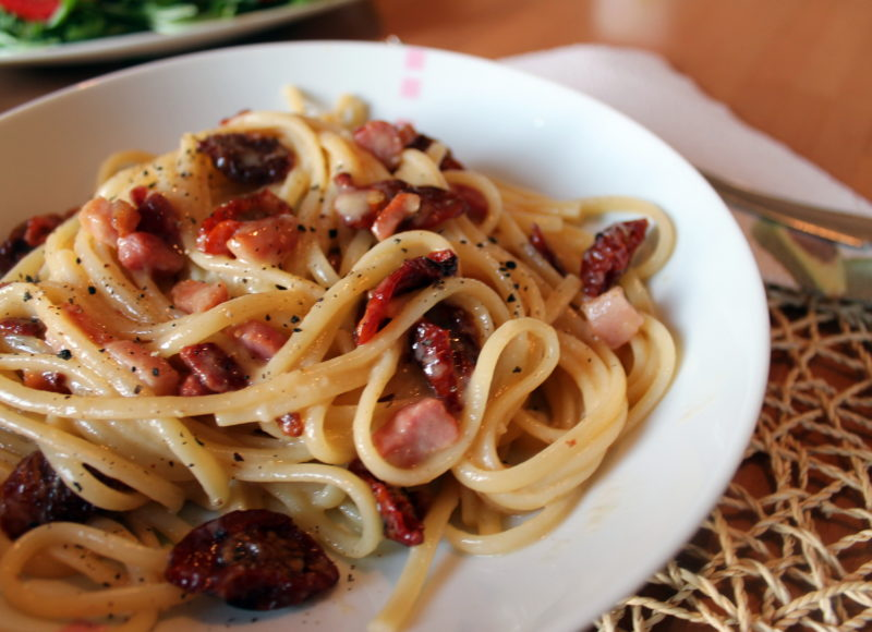 Authentic Italian Carbonarra, with Sun Dried Tomatoes