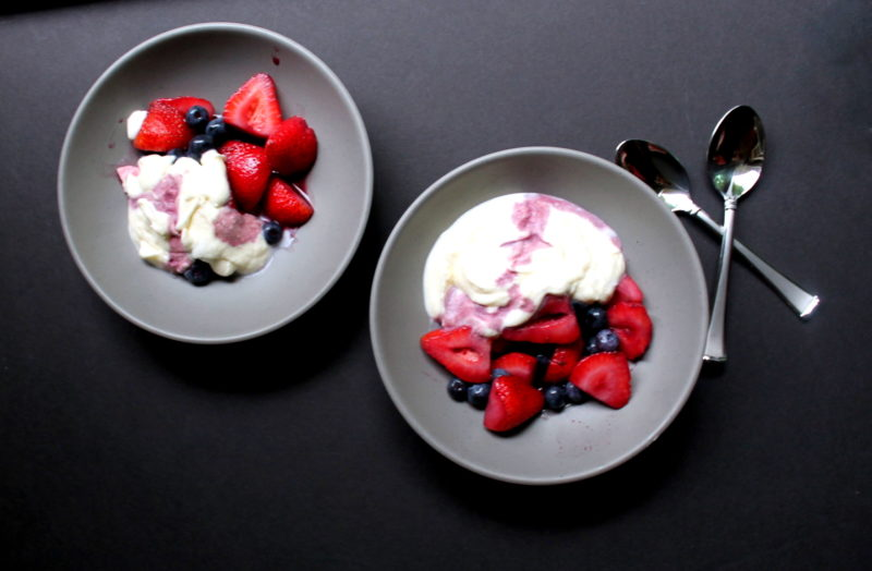 Berries with Wine & Whipped Cream