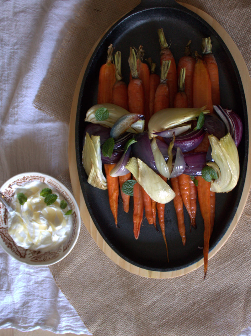 Roasted Veggies with Mint Yogurt & Honey