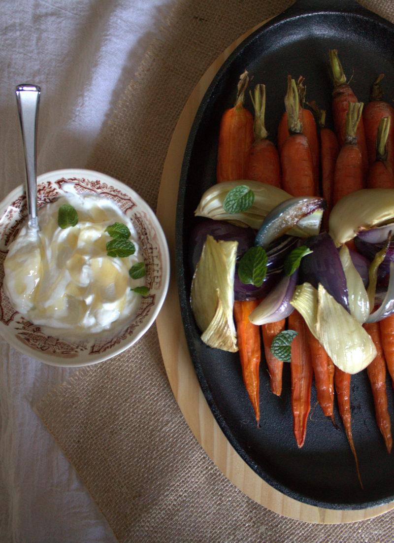 Roasted Veggies with Mint Yogurt & Honey