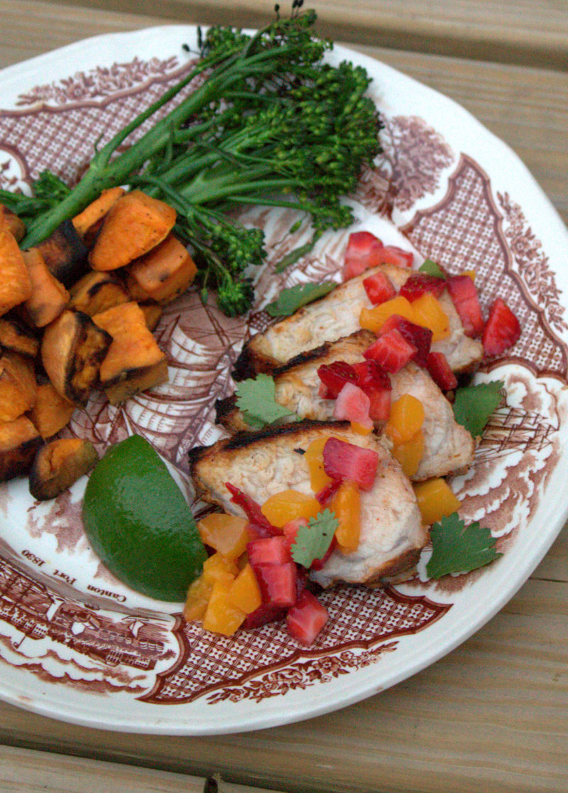 Spice Rubbed Pork with Strawberry and Peach Salsa