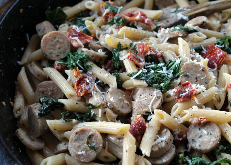 Sausage, Kale and Sun Dried Tomato Skillet Pasta
