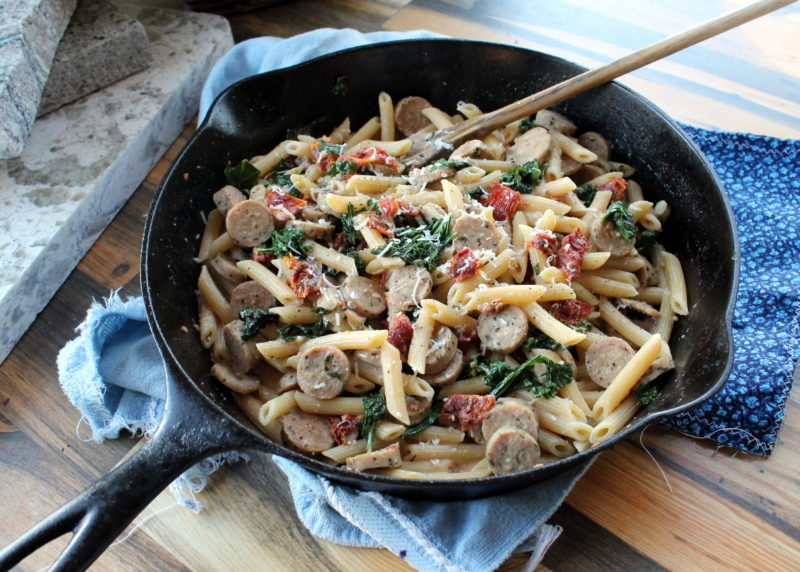 Sausage, Kale and Sun-Dried Tomato Skillet Pasta